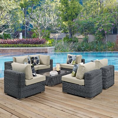 Summon 7 Piece Deep Seating Group Fabric: Beige