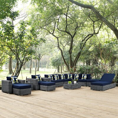 Summon 12 Piece Deep Seating Group Fabric: Navy