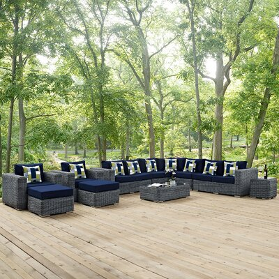 Summon 11 Piece Deep Seating Group Fabric: Navy