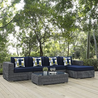 Summon 5 Piece Deep Seating Group Fabric: Navy