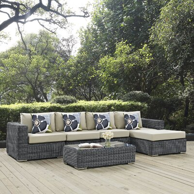 Summon 5 Piece Deep Seating Group Fabric: Beige