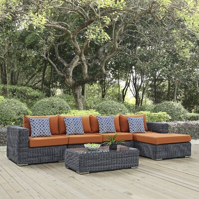 Summon 5 Piece Deep Seating Group Fabric: Tuscan