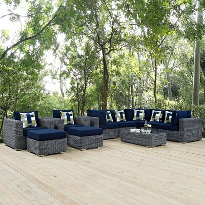 Summon 10 Piece Deep Seating Group Fabric: Navy