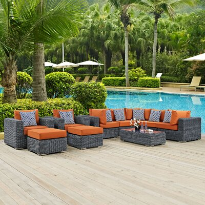 Summon 10 Piece Deep Seating Group Fabric: Tuscan