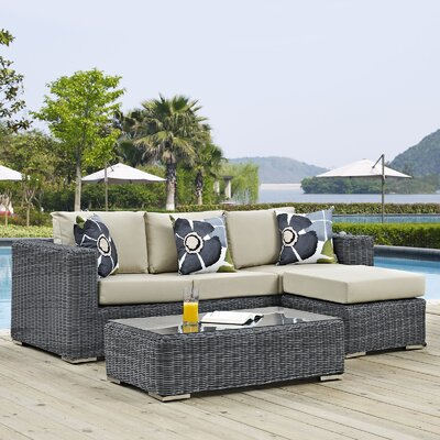 Summon 3 Piece Deep Seating Group Fabric: Beige