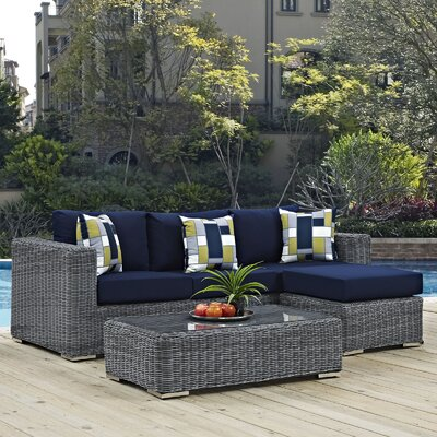 Summon 3 Piece Deep Seating Group Fabric: Navy