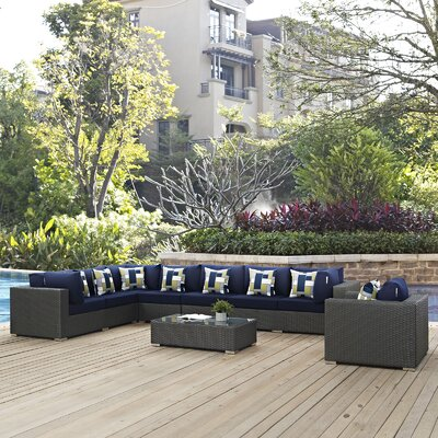 Sojourn 7 Piece Deep Seating Group Fabric: Navy