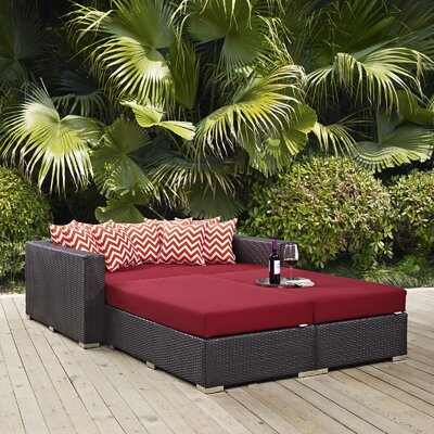 Ryele 4 Piece Patio Daybed with Cushions Fabric: Red