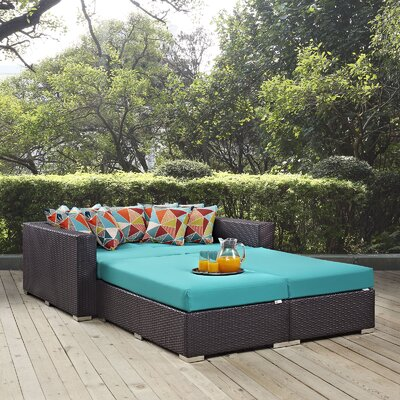 Ryele 4 Piece Patio Daybed with Cushions Fabric: Turquoise