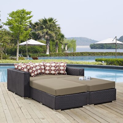 Ryele 4 Piece Patio Daybed with Cushions Fabric: Mocha