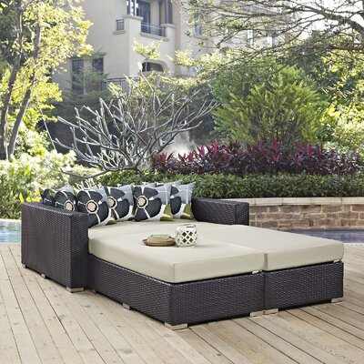 Ryele 4 Piece Patio Daybed with Cushions Fabric: Beige