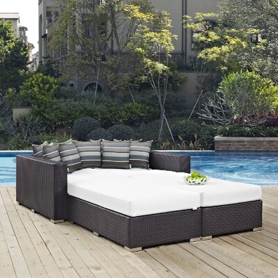 Ryele 4 Piece Patio Daybed with Cushions Fabric: White