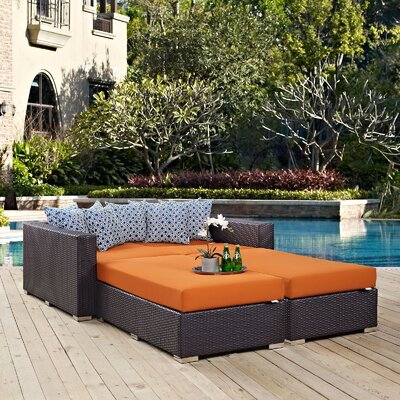 Ryele 4 Piece Patio Daybed with Cushions Fabric: Orange