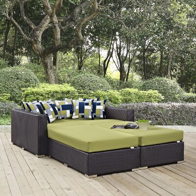 Ryele 4 Piece Patio Daybed with Cushions Fabric: Peridot