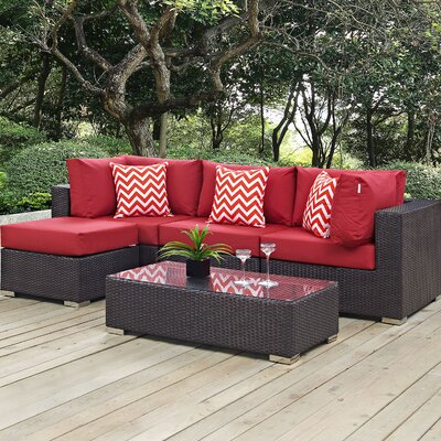 Ryele 5 Piece Deep Seating Group with Cushions Fabric: Red