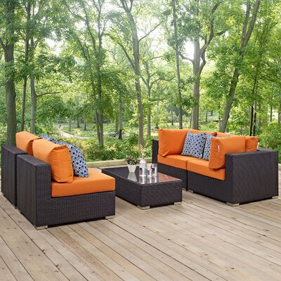 Ryele 5 Piece Metal Frame Deep Seating Group Fabric: Orange