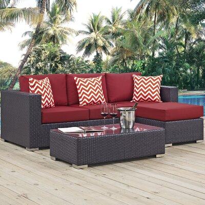 Ryele 3 Piece Rattan Deep Seating Group Fabric: Red
