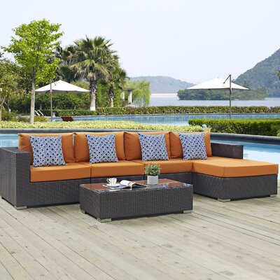 Ryele 5 Piece Deep Seating Group Fabric: Orange