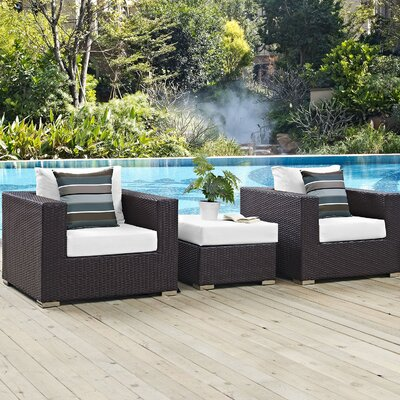 Ryele 3 Piece Metal Frame Deep Seating Group Fabric: White