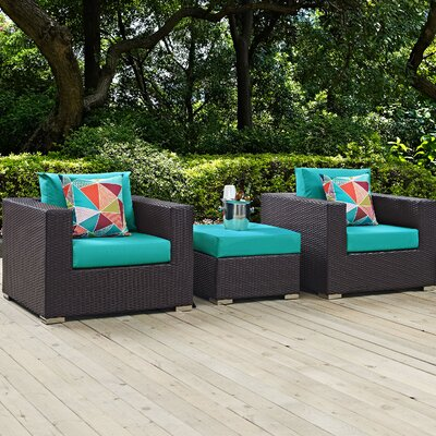 Ryele 3 Piece Metal Frame Deep Seating Group Fabric: Turquoise
