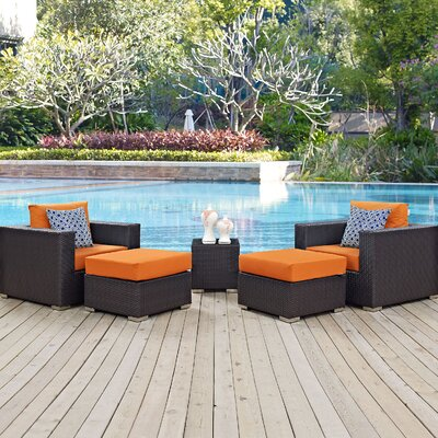 Ryele Contemporary 5 Piece Deep Seating Group Fabric: Orange