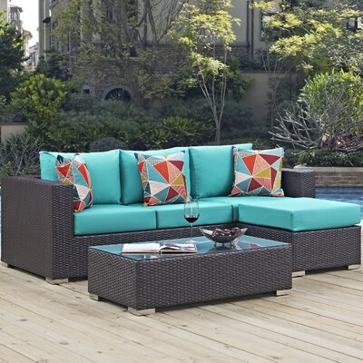 Ryele 3 Piece Rattan Deep Seating Group Fabric: Turquoise
