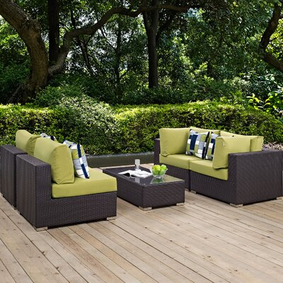 Convene 5 Piece Deep Seating Group Fabric: Peridot