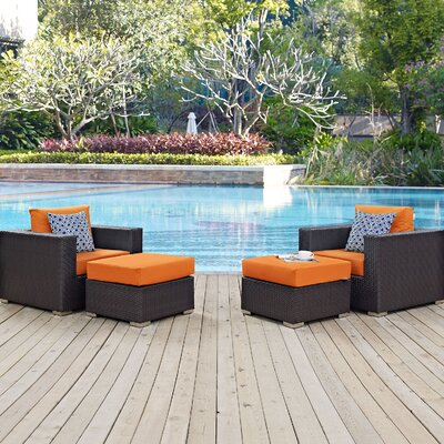 Ryele 4 Piece Deep Seating Group Fabric: Orange