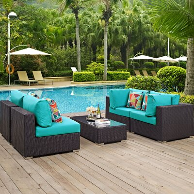 Ryele 5 Piece Metal Frame Deep Seating Group Fabric: Turquoise