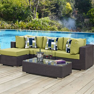 Ryele 5 Piece Deep Seating Group with Cushions Fabric: Peridot