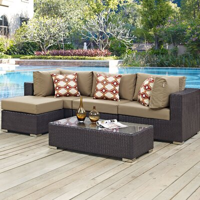 Ryele 5 Piece Deep Seating Group with Cushions Fabric: Mocha