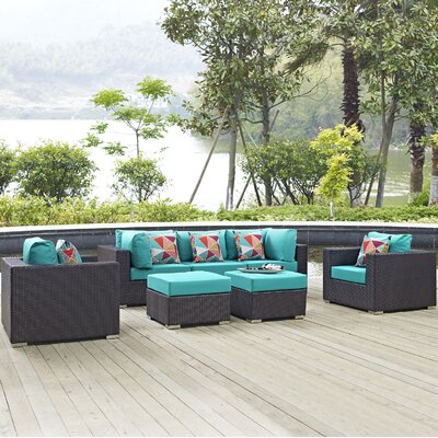 Ryele Contemporary 7 Piece Deep Seating Group Fabric: Turquoise