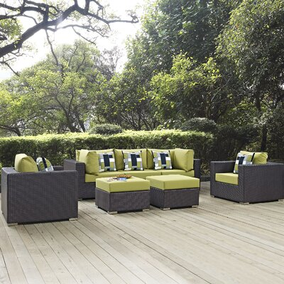 Ryele Contemporary 7 Piece Deep Seating Group Fabric: Peridot