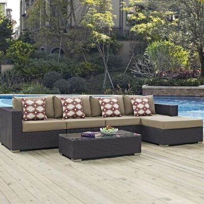 Ryele 5 Piece Deep Seating Group Fabric: Mocha
