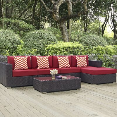 Ryele 5 Piece Deep Seating Group Fabric: Red