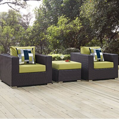 Ryele 3 Piece Metal Frame Deep Seating Group Fabric: Peridot