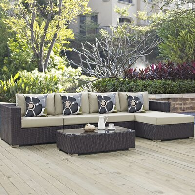 Ryele 5 Piece Deep Seating Group Fabric: Beige