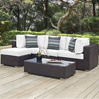 Ryele 5 Piece Deep Seating Group with Cushions Fabric: White