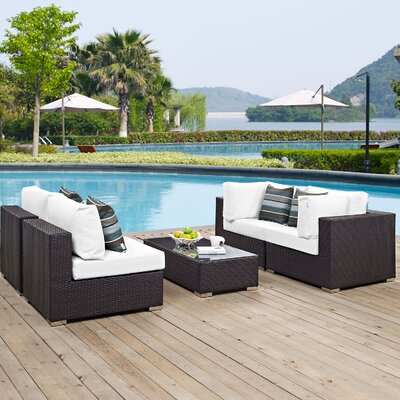 Ryele 5 Piece Metal Frame Deep Seating Group Fabric: White