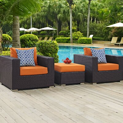 Ryele 3 Piece Metal Frame Deep Seating Group Fabric: Orange