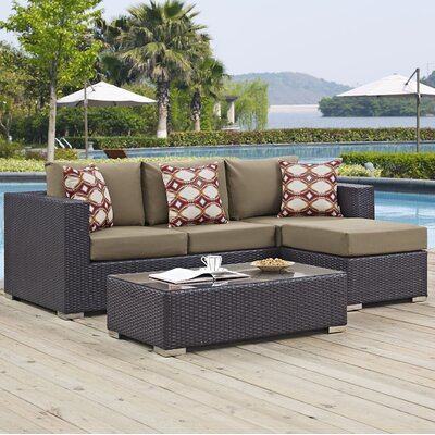 Ryele 3 Piece Rattan Deep Seating Group Fabric: Mocha