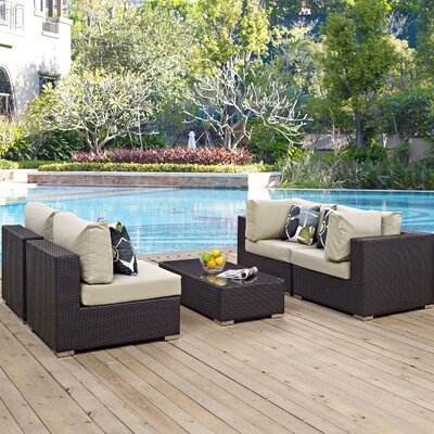 Ryele 5 Piece Metal Frame Deep Seating Group Fabric: Beige