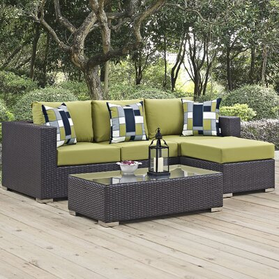 Ryele 3 Piece Rattan Deep Seating Group Fabric: Peridot