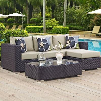 Ryele 3 Piece Rattan Deep Seating Group Fabric: Beige