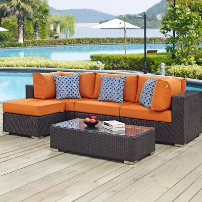 Ryele 5 Piece Deep Seating Group with Cushions Fabric: Orange