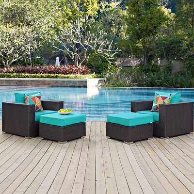 Ryele 4 Piece Deep Seating Group Fabric: Turquoise