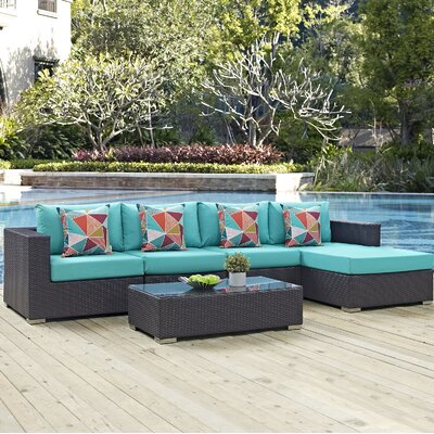 Convene 5 Piece Deep Seating Group Fabric: Turquoise