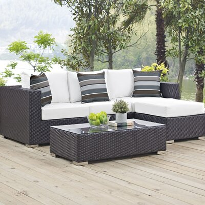 Ryele 3 Piece Rattan Deep Seating Group Fabric: White