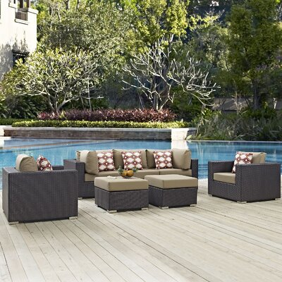 Ryele Contemporary 7 Piece Deep Seating Group Fabric: Mocha