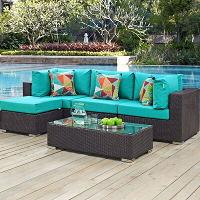 Ryele 5 Piece Deep Seating Group with Cushions Fabric: Turquoise